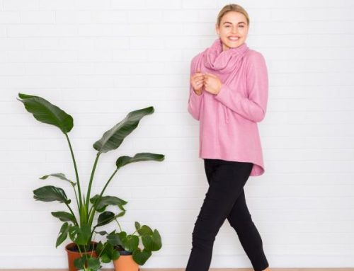 Alyssa knit top with snood. Also available in charcoal, camel and indigo Top $189.00Snood $89.00