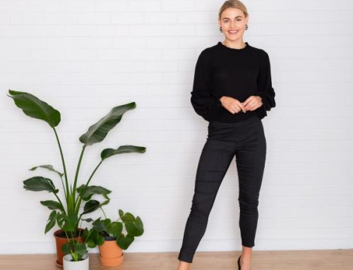 Giliano puff sleeve top $219.00Worn with stretch pinstripe lily pants $189.00